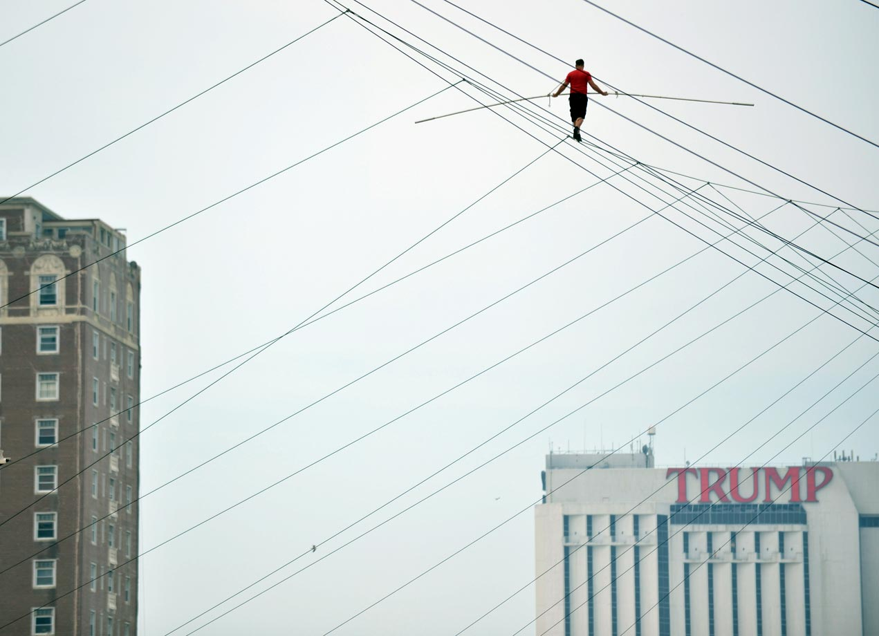 Daredevil Nik Wallenda during his 1,500-foot (457 meters) tightrope walk 100 feet (30.5 meters) above the beach on Aug. 9, 2012, in Atlantic City.