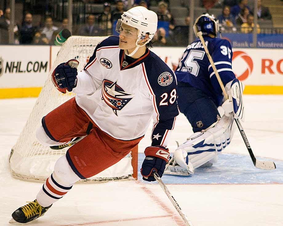 Originally drafted by Columbus with the sixth pick in 2008, Filatov was yet another promising player with speed and all-around game who ended up bouncing between the NHL and KHL without ever becoming comfortable with North American hockey. He rode the elevator up and down between the NHL and AHL for three seasons, playing in only 44 NHL games in which producing a grand total of 13 points. He was also sent back to the KHL for conditioning and maturation. Although he shined in Russia, Filatov's defensive lapses spelled his doom in the Blue Jackets' organization. After a nine-game stint with Ottawa, he returned to his native country for good in 2011.