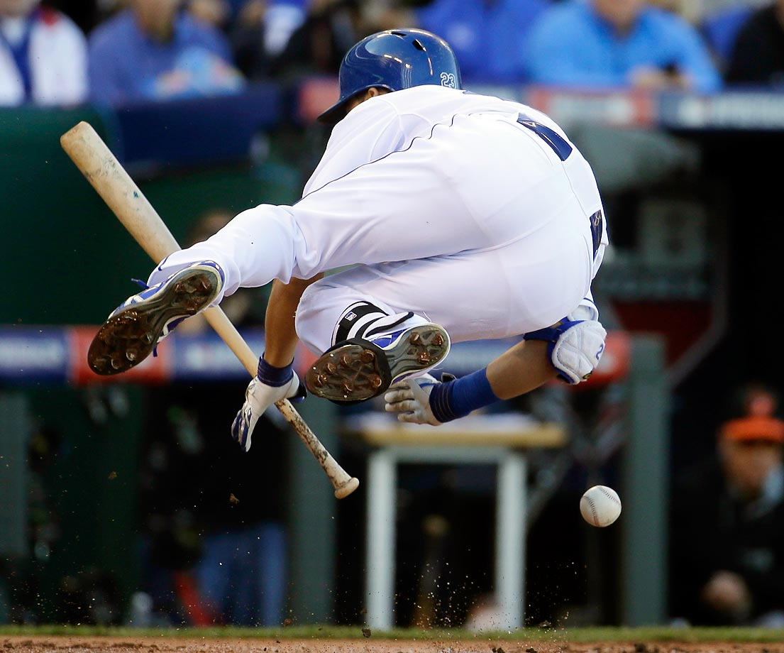 Norichika Aoki of the Kansas City Royals is hit by a pitch in Game 4 of the American League Championship Series.