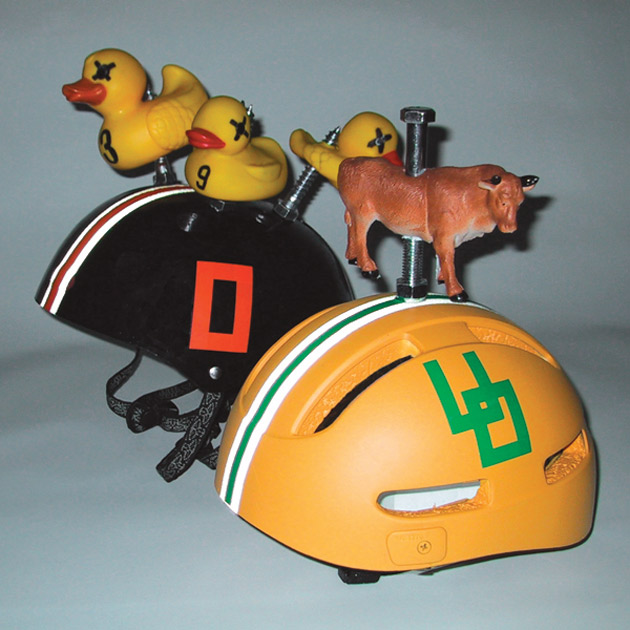 Morrow launched his own creative brand agency in 2000, the same time he toyed with making a fun helmet to support one of his clients, Oregon State University (pictured).