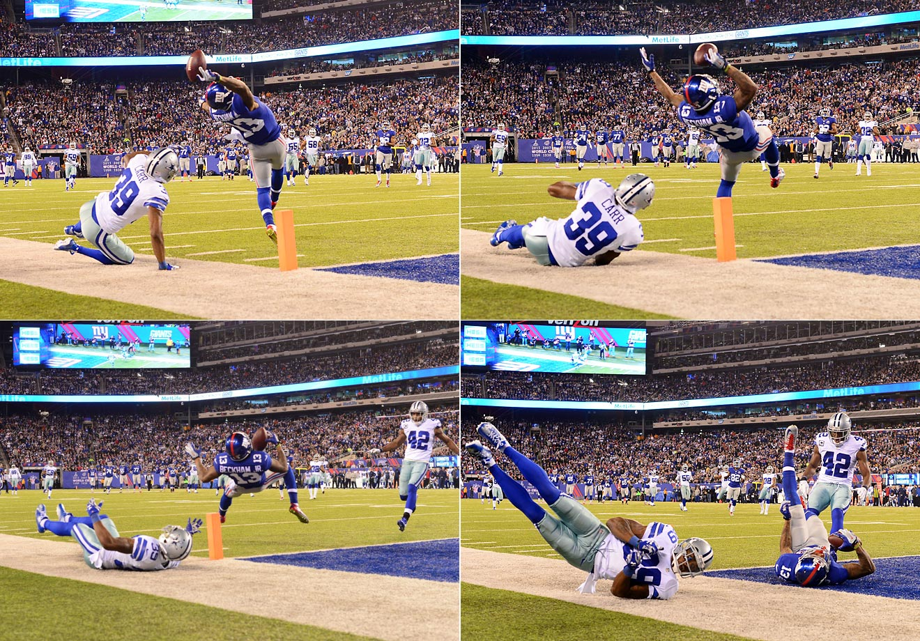Giants wide receiver Odell Beckham Jr. made one of the best catches in NFL history Sunday night against Dallas, a 43-yard touchdown reception in the second quarter.