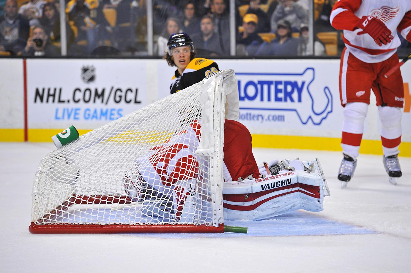 Detroit Red Wings goalie Petr Mrazek gets the net flipped over his head during a preseason game against the Boston Bruins at the TD Garden in Boston.