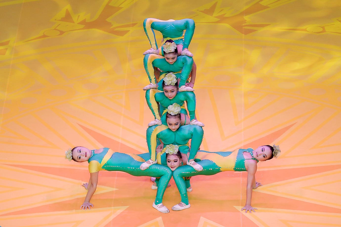 Dancers perform during the opening ceremony of the 45th Artistic Gymnastics World Championships in China.