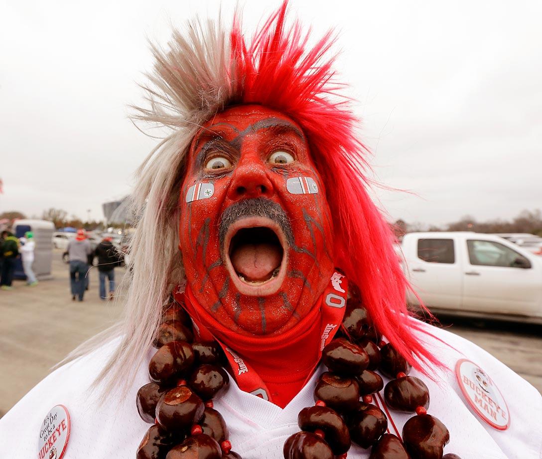 Ohio State fan Larry Buckyeman Lokai really enjoyed the day.
