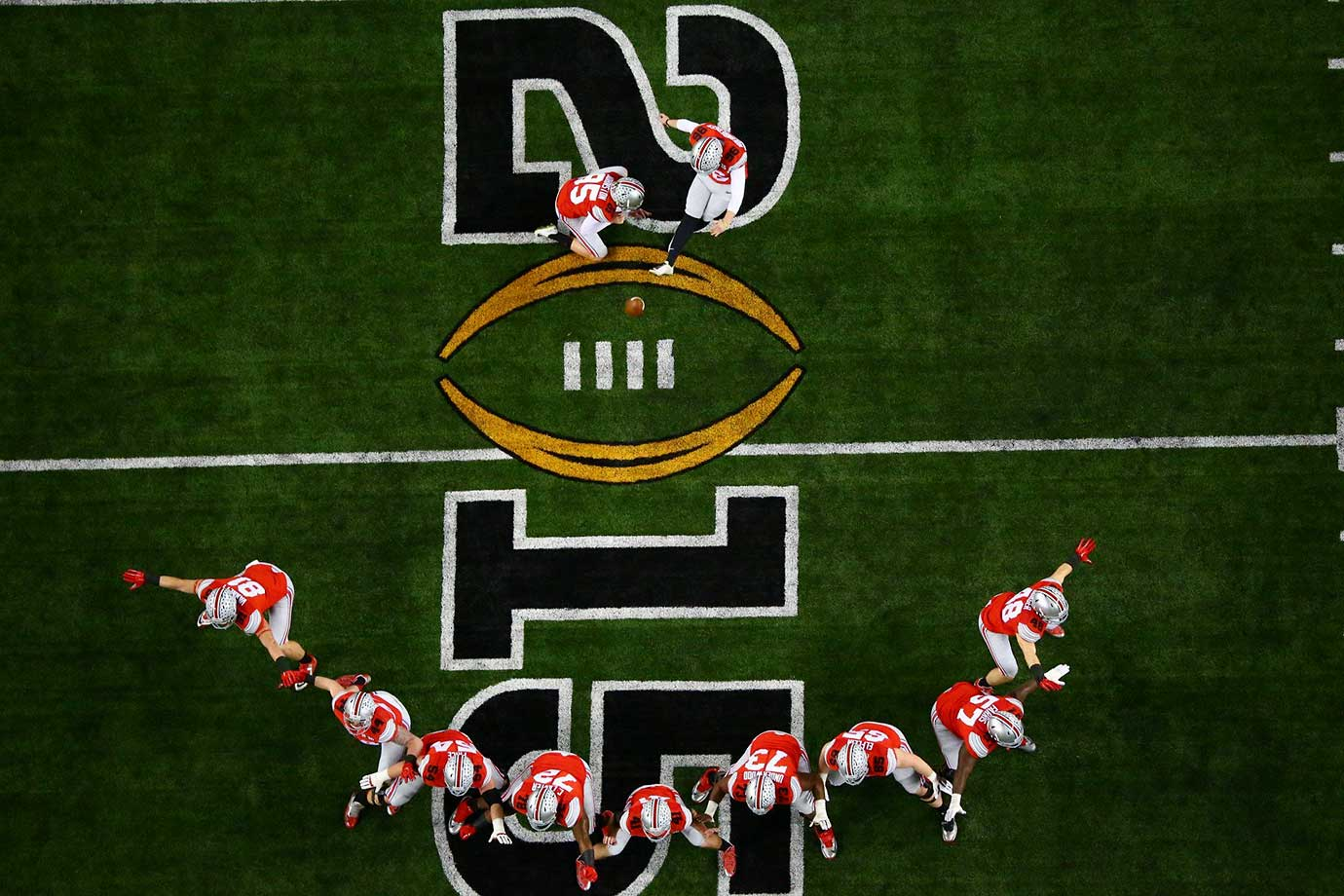 Ohio State's field goal team during the 2015 national championship game at AT&T Stadium in Arlington, Texas.