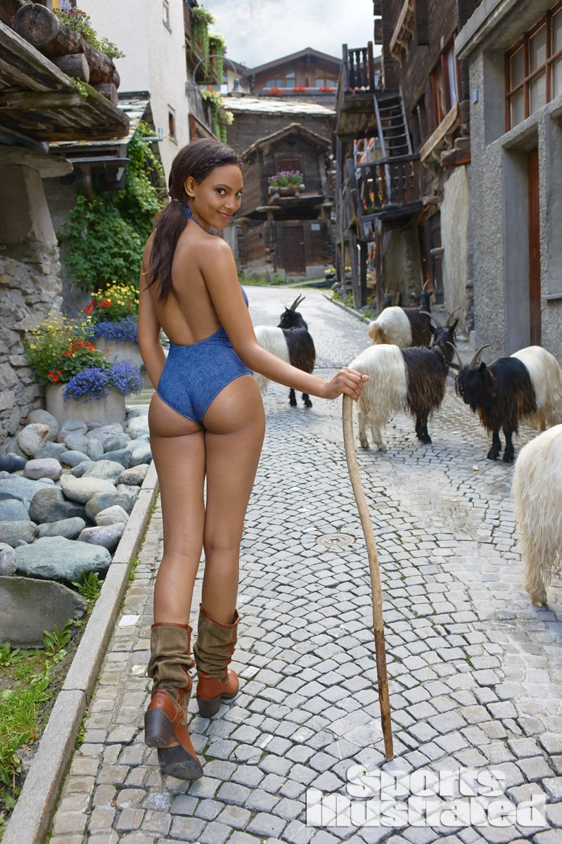 Ariel Meredith was photographed by Yu Tsai in Switzerland. Swimsuit by Odina.