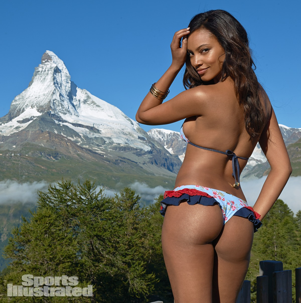 Ariel Meredith was photographed by Yu Tsai in Switzerland. Swimsuit by Beach Bunny Swimwear.