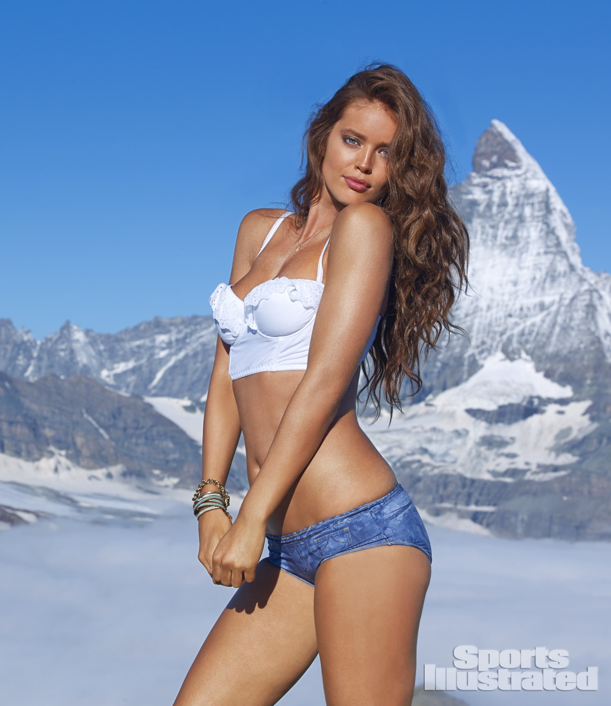 Emily DiDonato was photographed by Yu Tsai in Switzerland. Swimsuit by Cosabella.