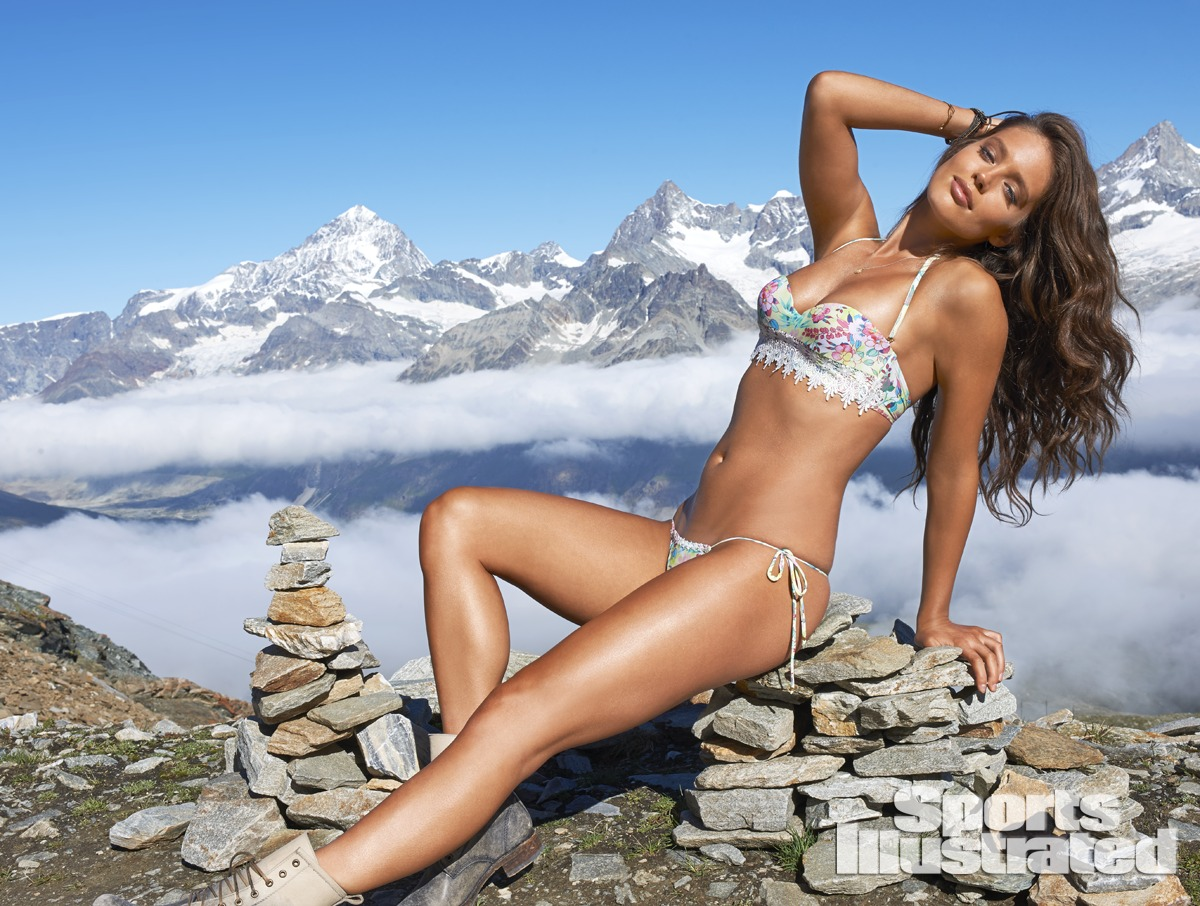 Emily DiDonato was photographed by Yu Tsai in Switzerland. Swimsuit by Amir Slama.