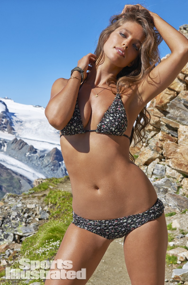 Emily DiDonato was photographed by Yu Tsai in Switzerland. Swimsuit by Lucky Brand Swimwear.