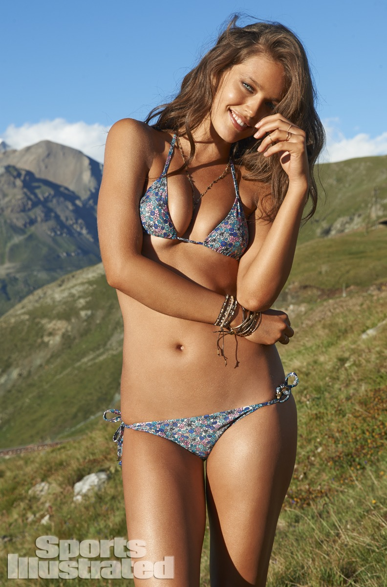 Emily DiDonato was photographed by Yu Tsai in Switzerland. Swimsuit by PISTOL PANTIES BY DEBORAH FLEMING.