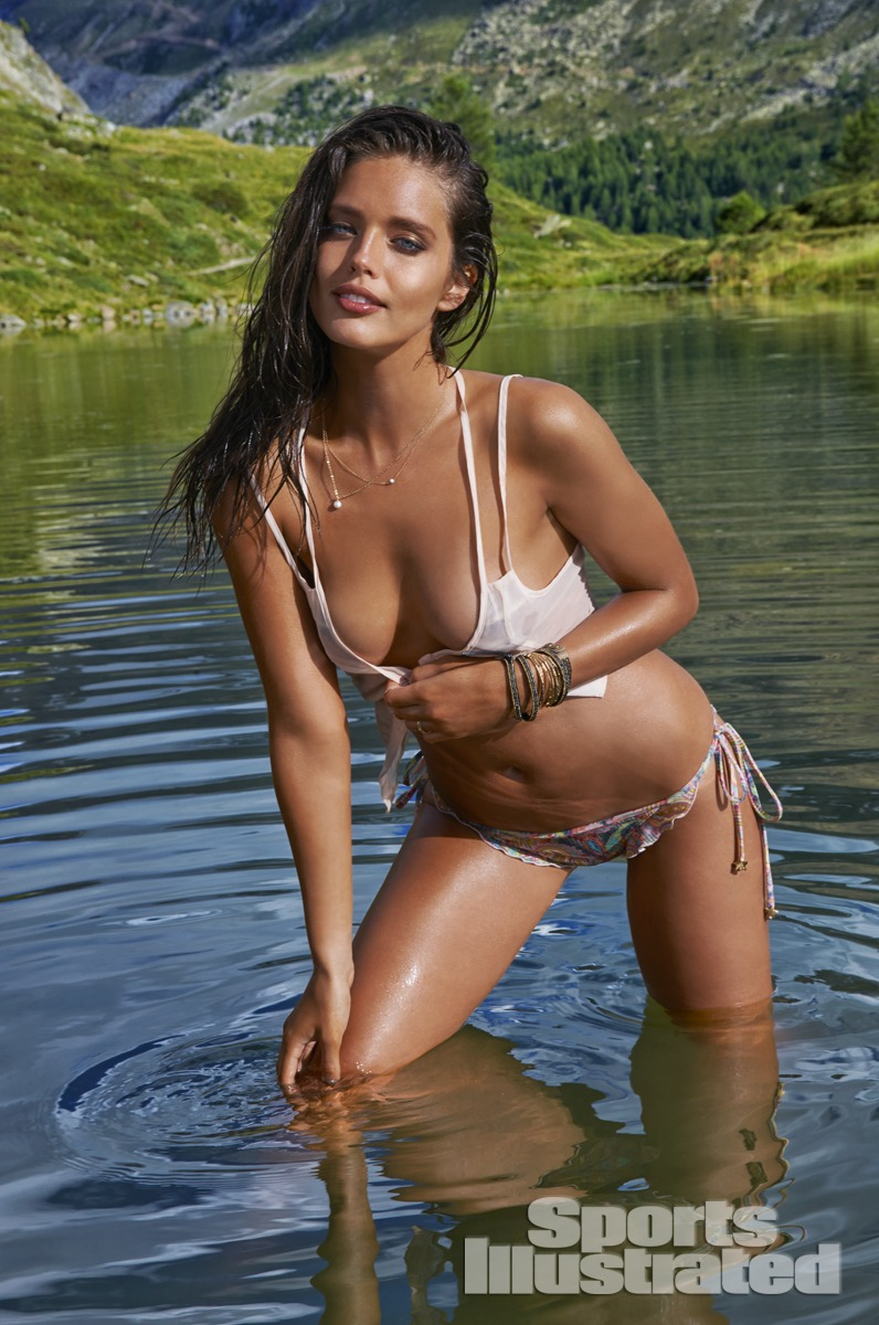 Emily DiDonato was photographed by Yu Tsai in Switzerland. Swimsuit by PISTOL PANTIES BY DEBORAH FLEMING, Top by CALi DREAMiNG.