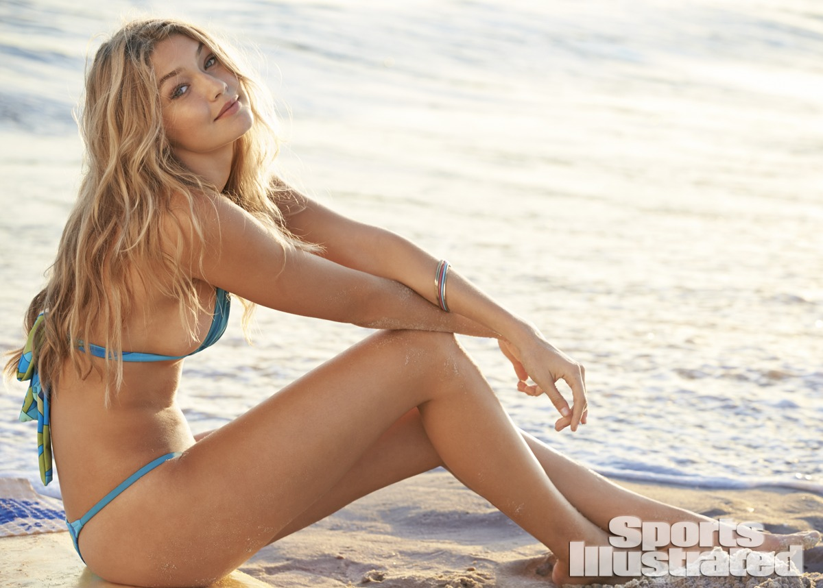 Gigi Hadid was photographed by Ben Watts at the Jersey Shore. Swimsuit by Ola Vida.