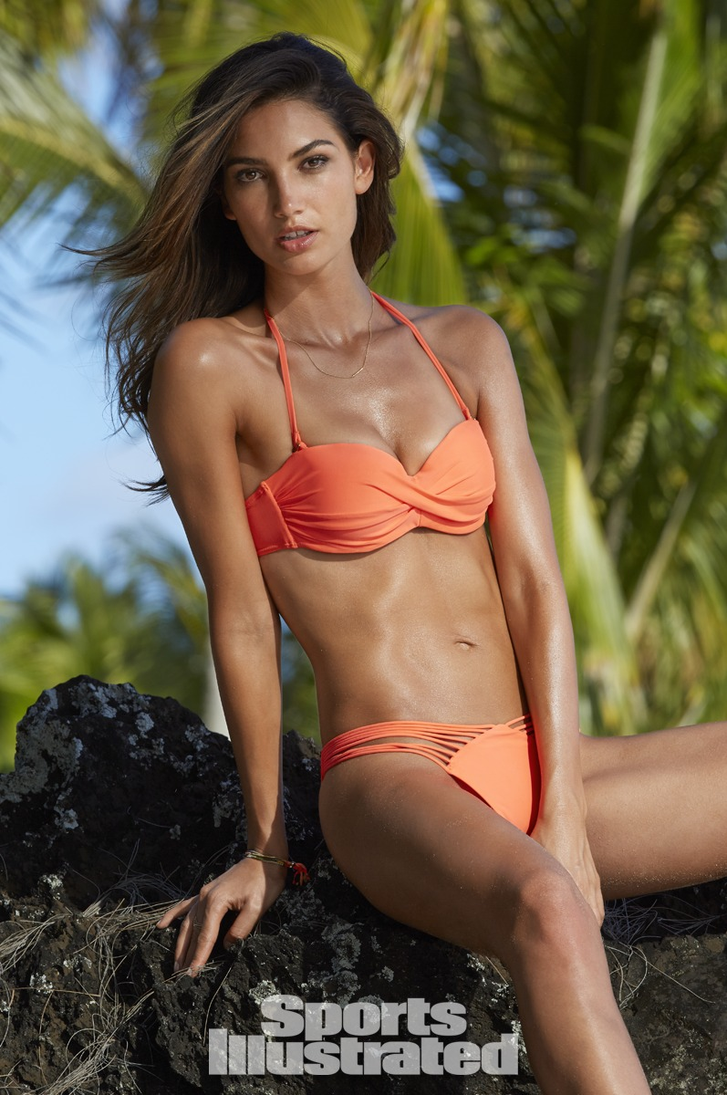 Lily Aldridge was photographed by James Macari in the Cook Islands. Swimsuit by Luli Fama.
