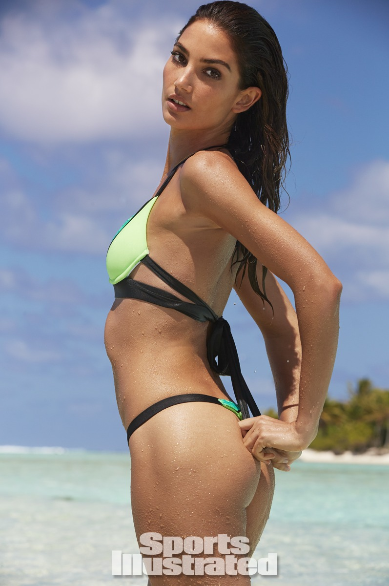 Lily Aldridge was photographed by James Macari in the Cook Islands. Swimsuit by Beach Bunny Swimwear.