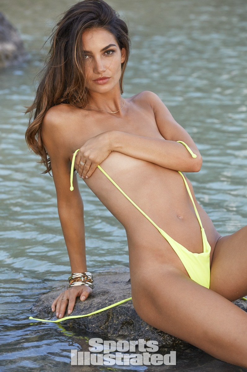 Lily Aldridge was photographed by James Macari in the Cook Islands. Swimsuit by MIKOH.