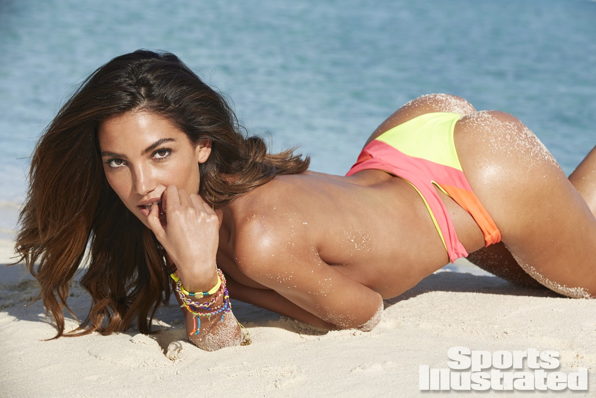 Lily Aldridge was photographed by James Macari in the Cook Islands. Swimsuit by Martha Rey for The La Boheme.