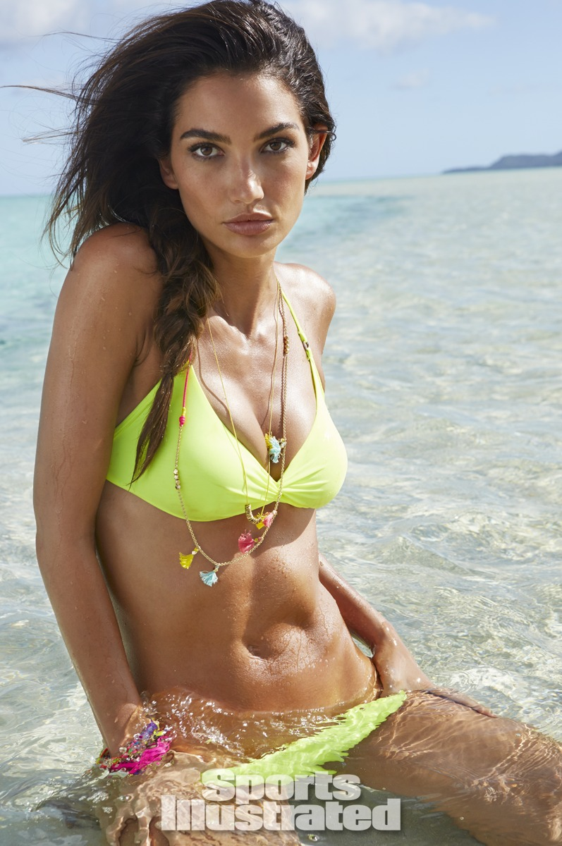 Lily Aldridge was photographed by James Macari in the Cook Islands. Swimsuit by MAKENA SURF WEAR.