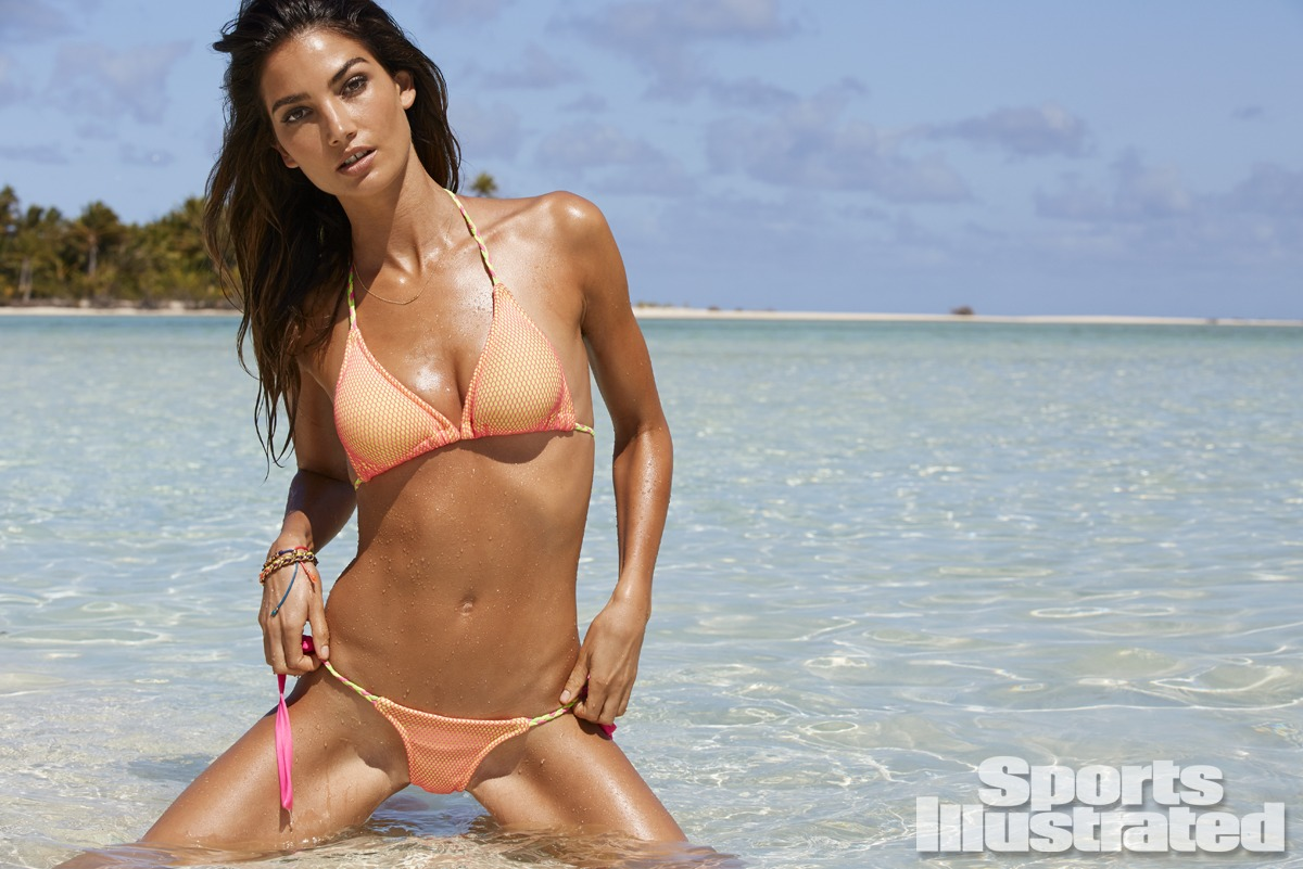 Lily Aldridge was photographed by James Macari in the Cook Islands. Swimsuit by Ola Vida.