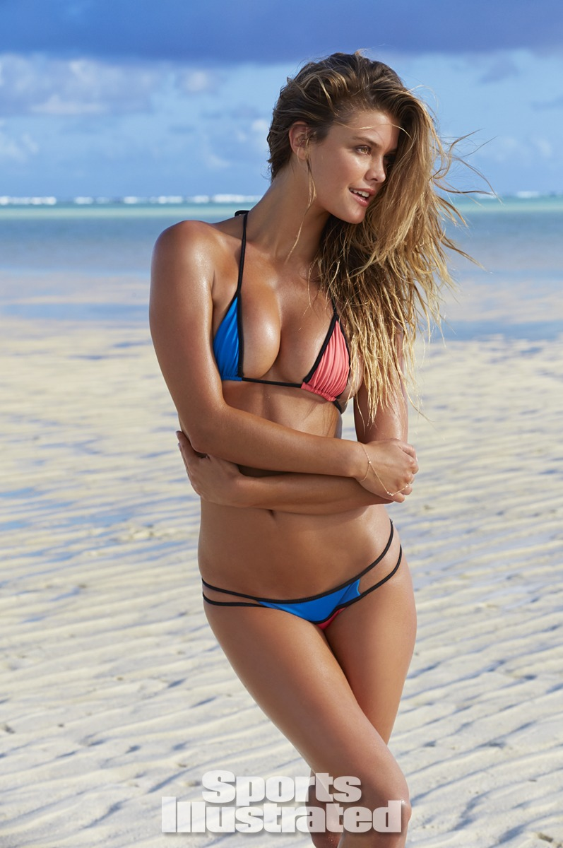 Nina Agdal was photographed by James Macari in the Cook Islands. Swimsuit by Indah.