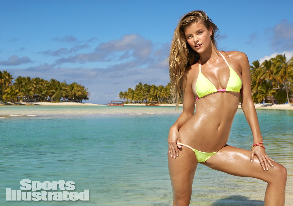 Nina Agdal was photographed by James Macari in the Cook Islands. Swimsuit by Ola Vida.
