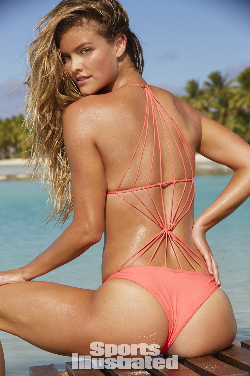 Nina Agdal was photographed by James Macari in the Cook Islands. Swimsuit by MIKOH.