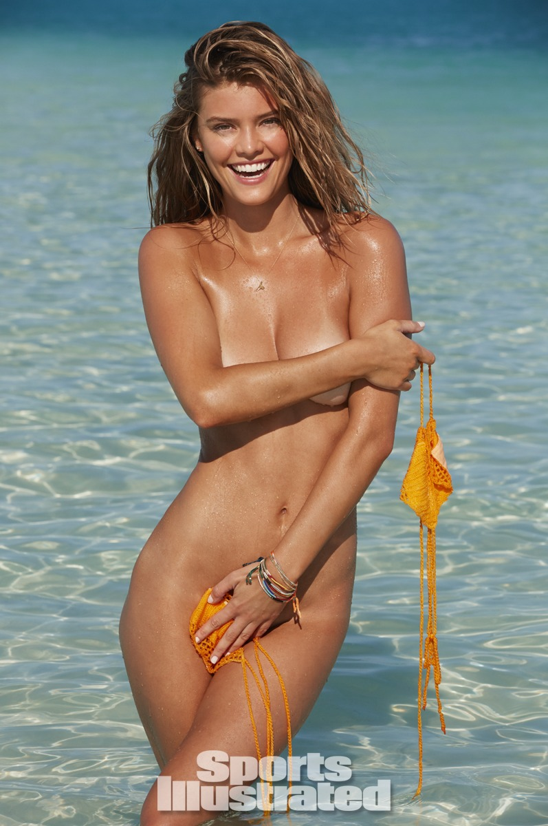 Nina Agdal was photographed by James Macari in the Cook Islands. Swimsuit by Beauty & the Beach.