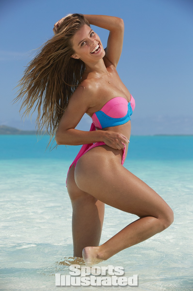 Nina Agdal was photographed by James Macari in the Cook Islands. Swimsuit by Tori Praver Swimwear.