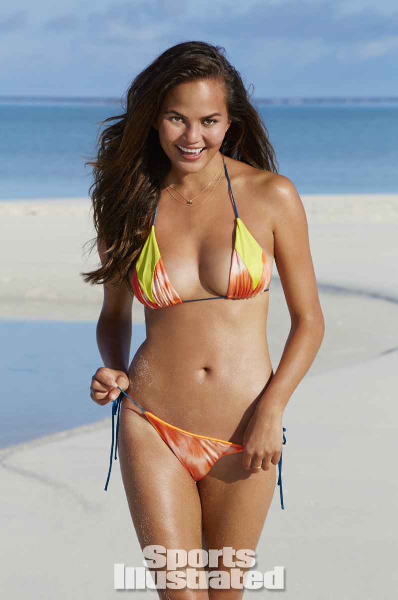 Chrissy Teigen was photographed by James Macari in the Cook Islands. Swimsuit by Martha Rey for The La Boheme.