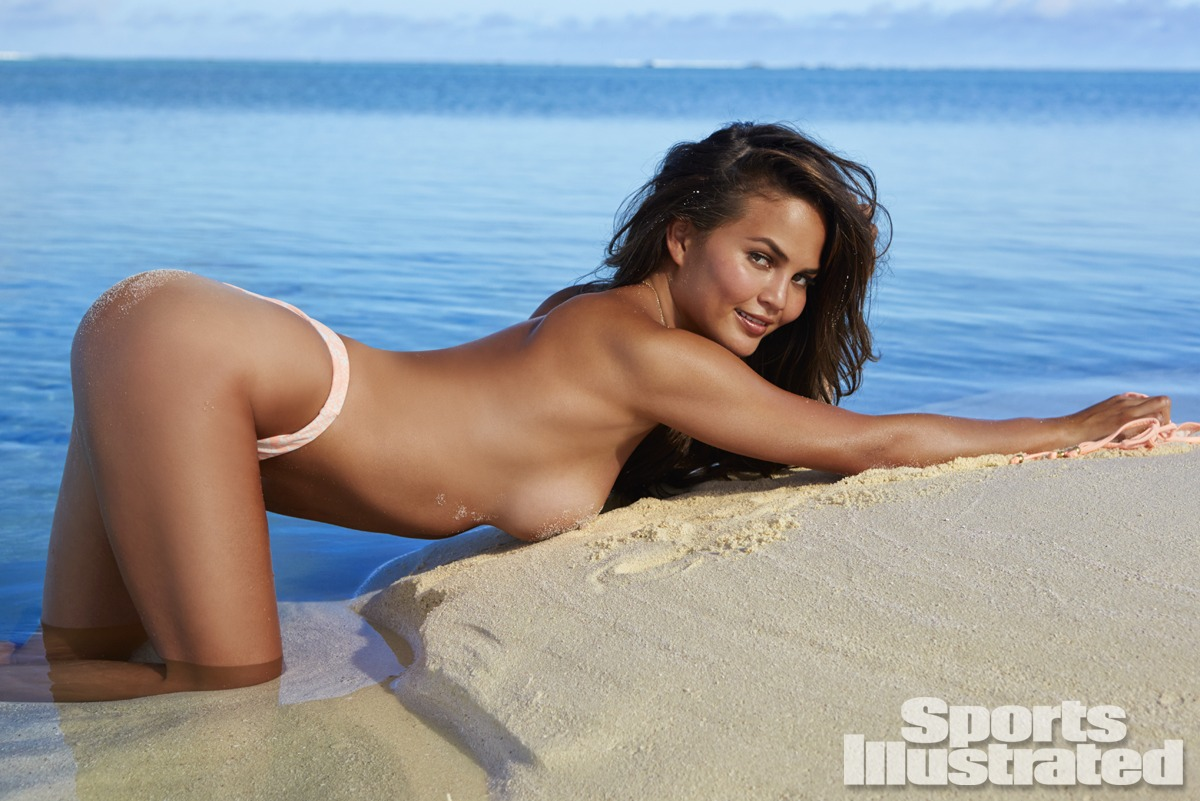 Chrissy Teigen was photographed by James Macari in the Cook Islands. Swimsuit by Eberjey.
