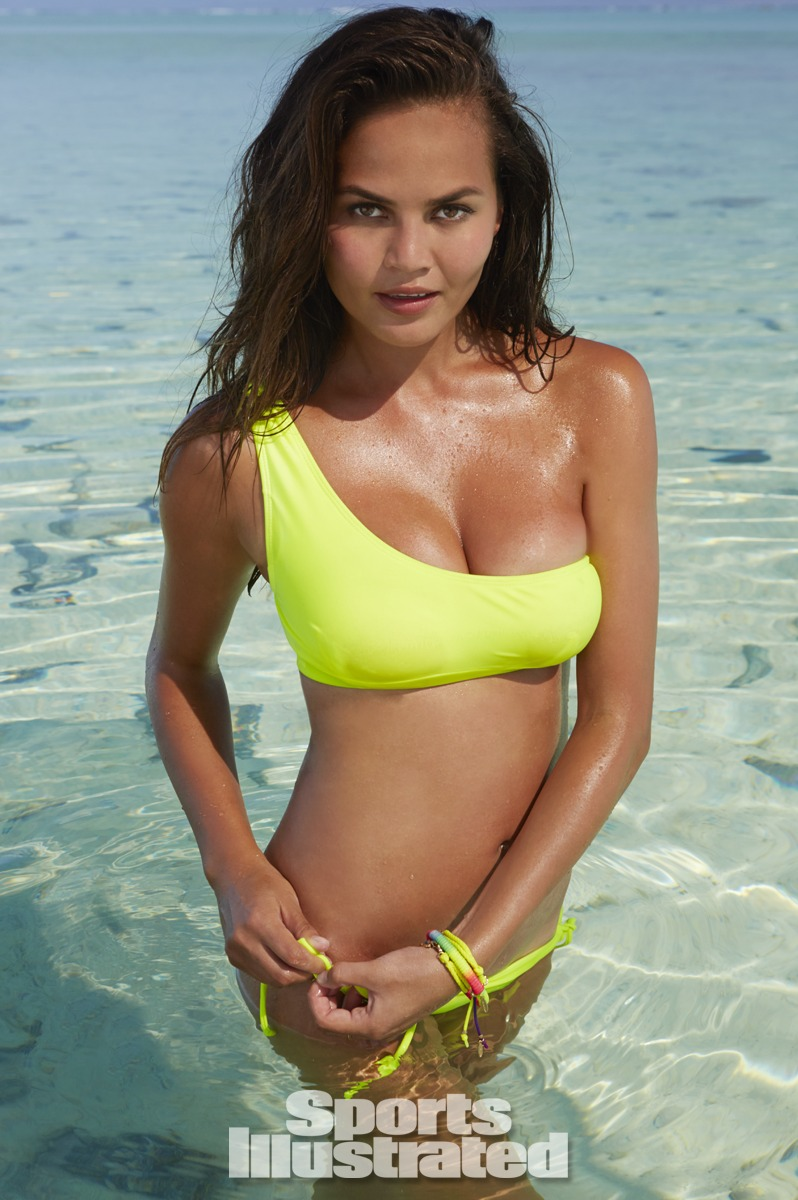 Chrissy Teigen was photographed by James Macari in the Cook Islands. Swimsuit by Kovey.