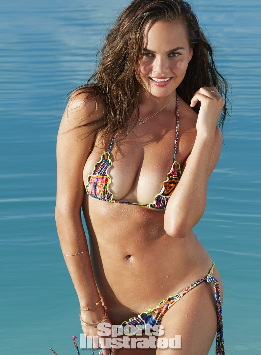 Chrissy Teigen was photographed by James Macari in the Cook Islands. Swimsuit by Luli Fama.