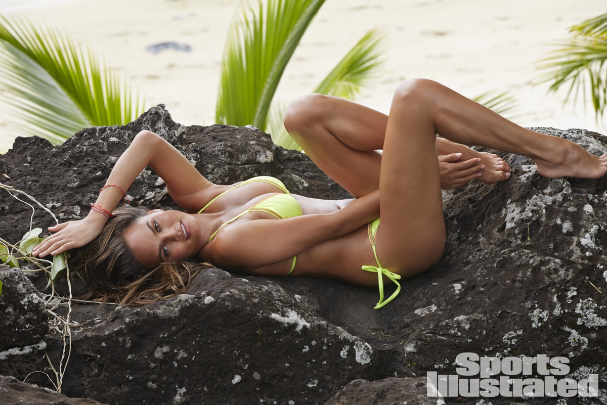 Chrissy Teigen was photographed by James Macari in the Cook Islands. Swimsuit by Solkissed Swimwear.