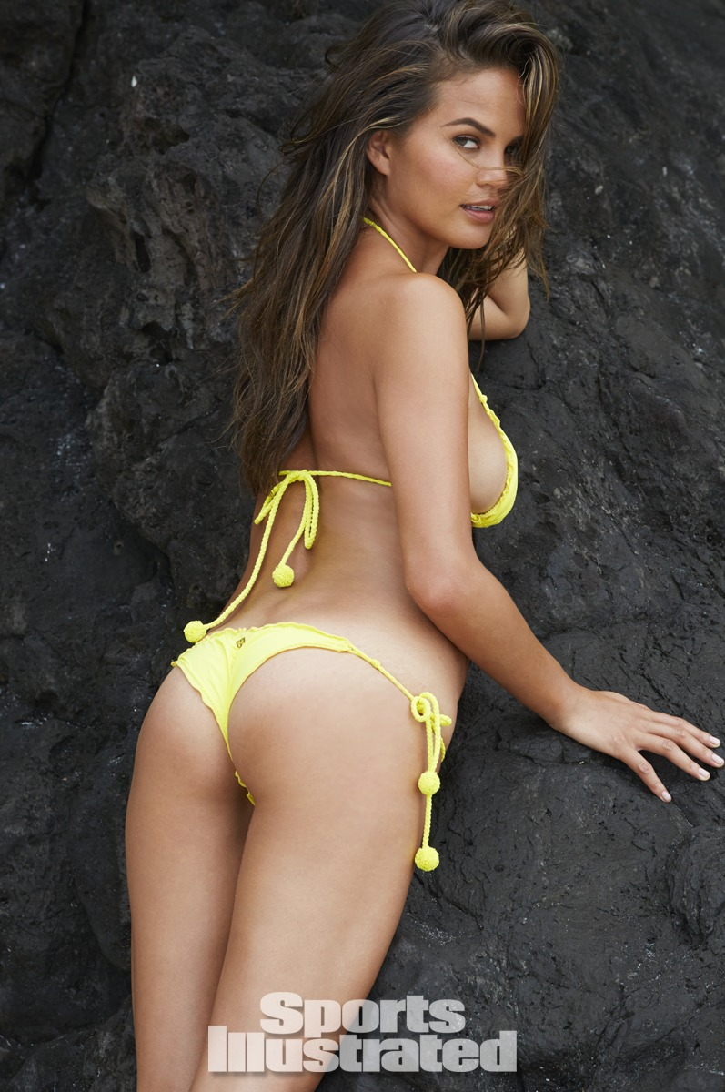Chrissy Teigen was photographed by James Macari in the Cook Islands. Swimsuit by Despi.