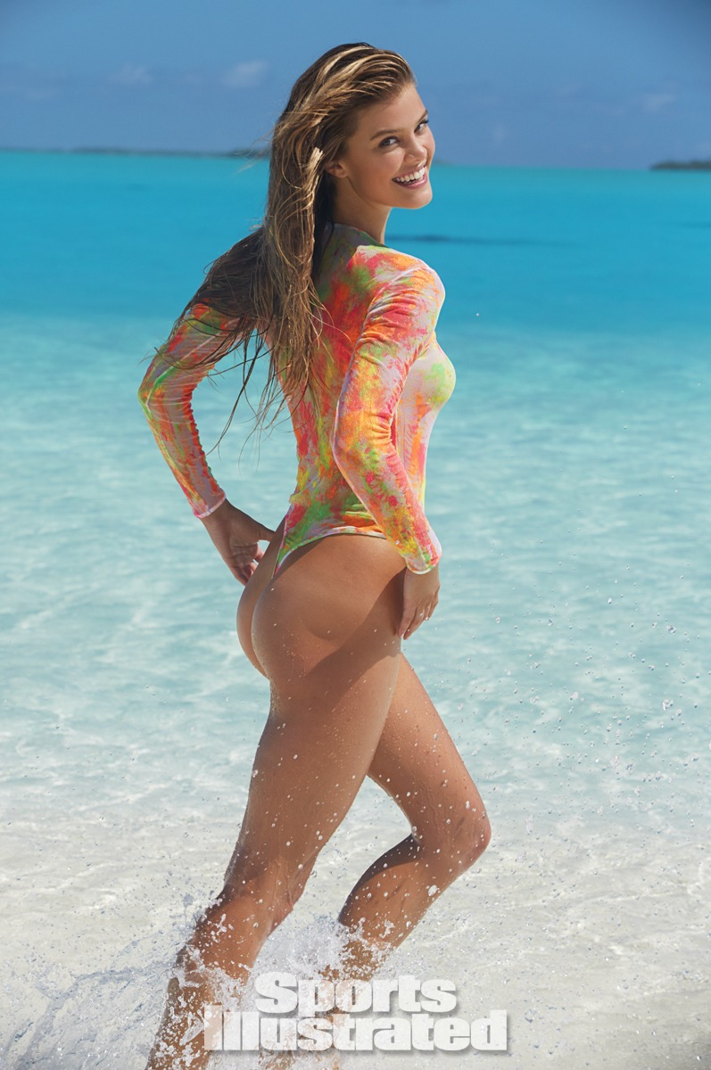 Nina Agdal was photographed by James Macari in the Cook Islands. Swimsuit by Cosabella.