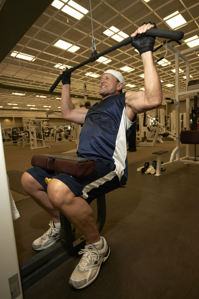 NFL referee Ed Hochuli working out at the Life Time Fitness gym in Tempe, AZ in September 2012.