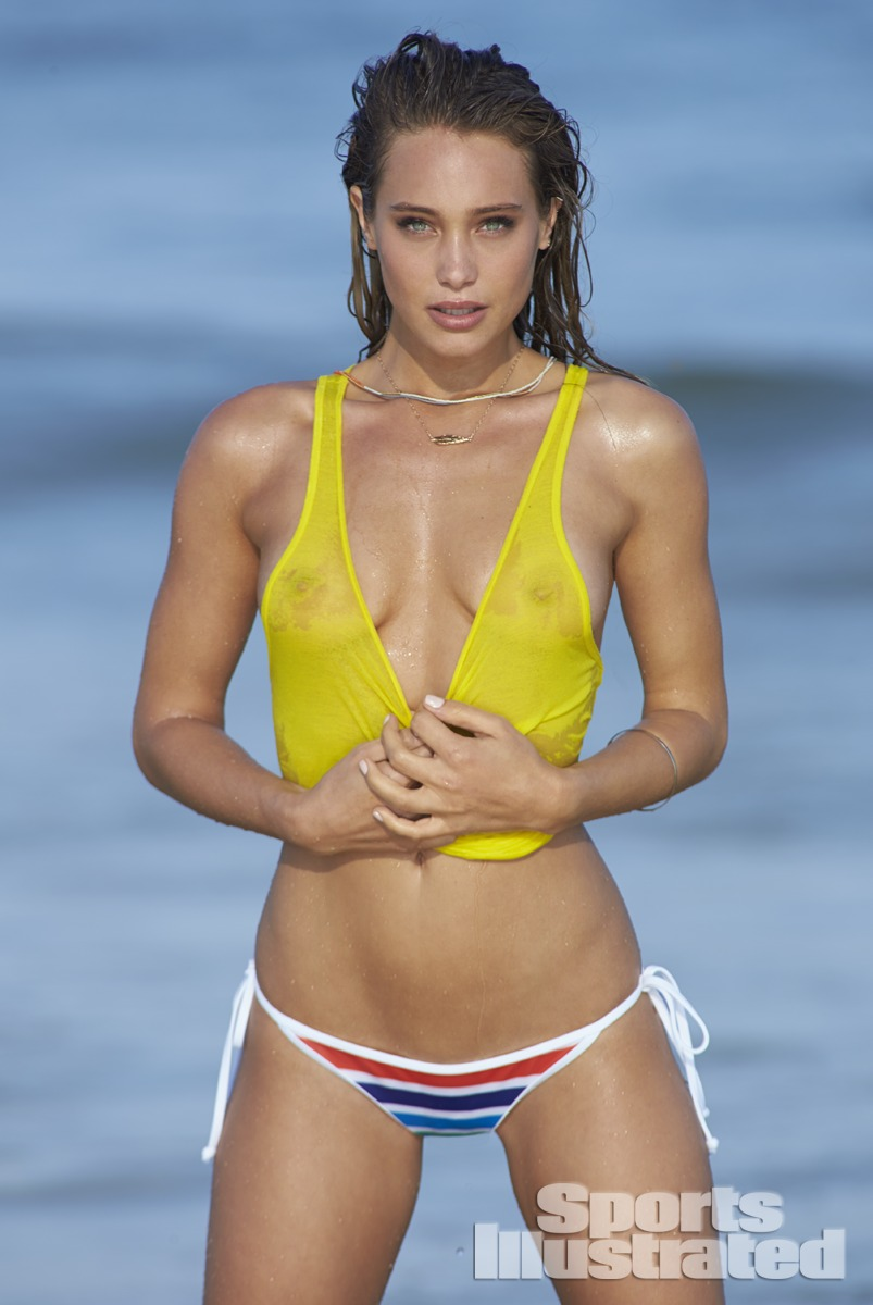 Hannah Davis was photographed by Ben Watts at the Jersey Shore. Swimsuit by Top by American Apparel.