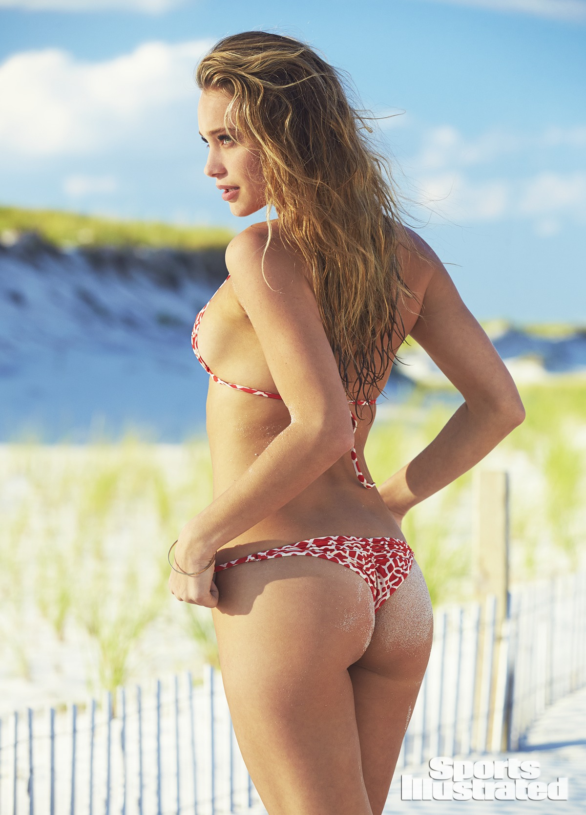 Hannah Davis was photographed by Ben Watts at the Jersey Shore. Swimsuit by TeenyB Bikini Couture.