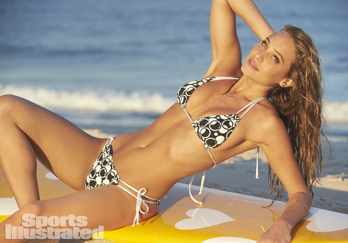 Hannah Davis was photographed by Ben Watts at the Jersey Shore. Swimsuit by Swimsuit by Kate Swim.