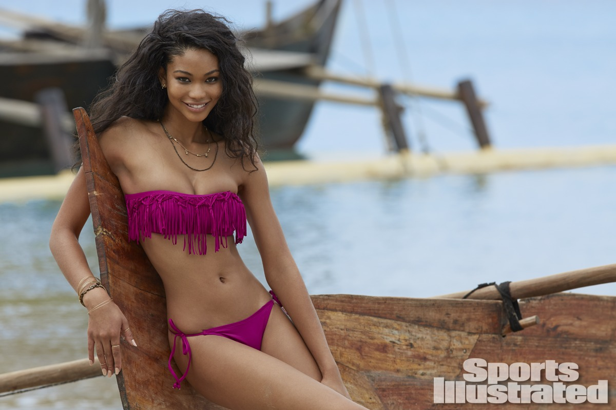 Chanel Iman was photographed by Derek Kettela in Madagascar. Swimsuit by L*SPACE by Monica Wise.