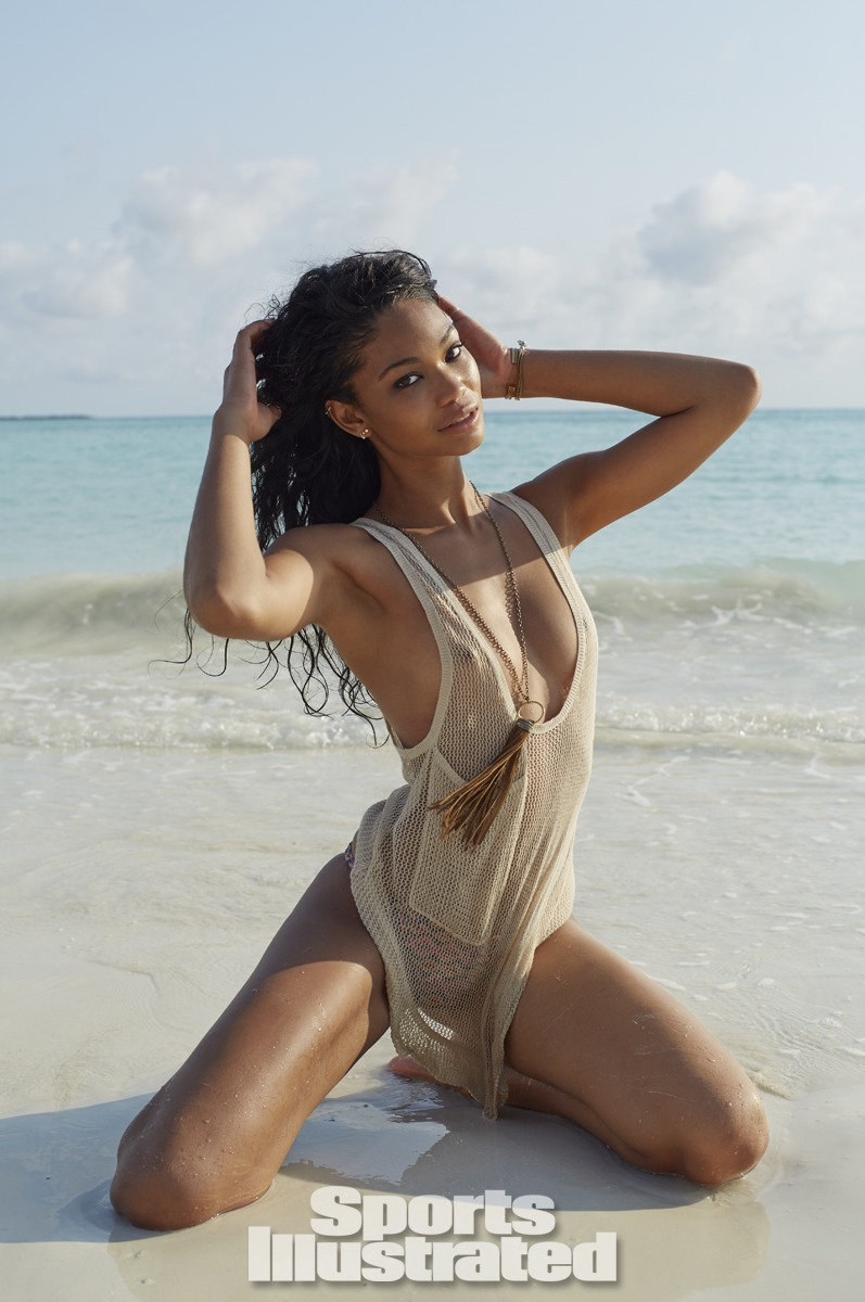 Chanel Iman was photographed by Derek Kettela in Madagascar. Swimsuit by Acacia Swimwear, Top by Chelsea Flower.