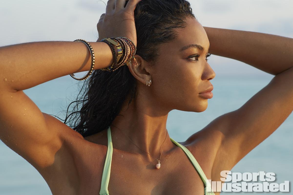 Chanel Iman was photographed by Derek Kettela in Madagascar. Swimsuit by Tori Praver Swimwear.