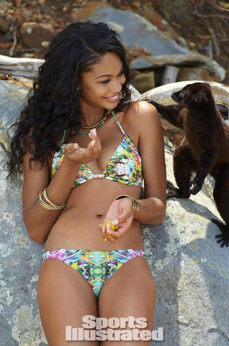 Chanel Iman was photographed by Derek Kettela in Madagascar. Swimsuit by Voda Swim.