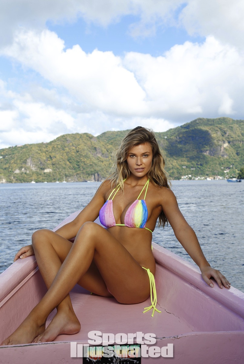Samantha Hoopes was photographed by Walter Iooss Jr. in St. Lucia. Swimsuit by Bellina Rebelle.