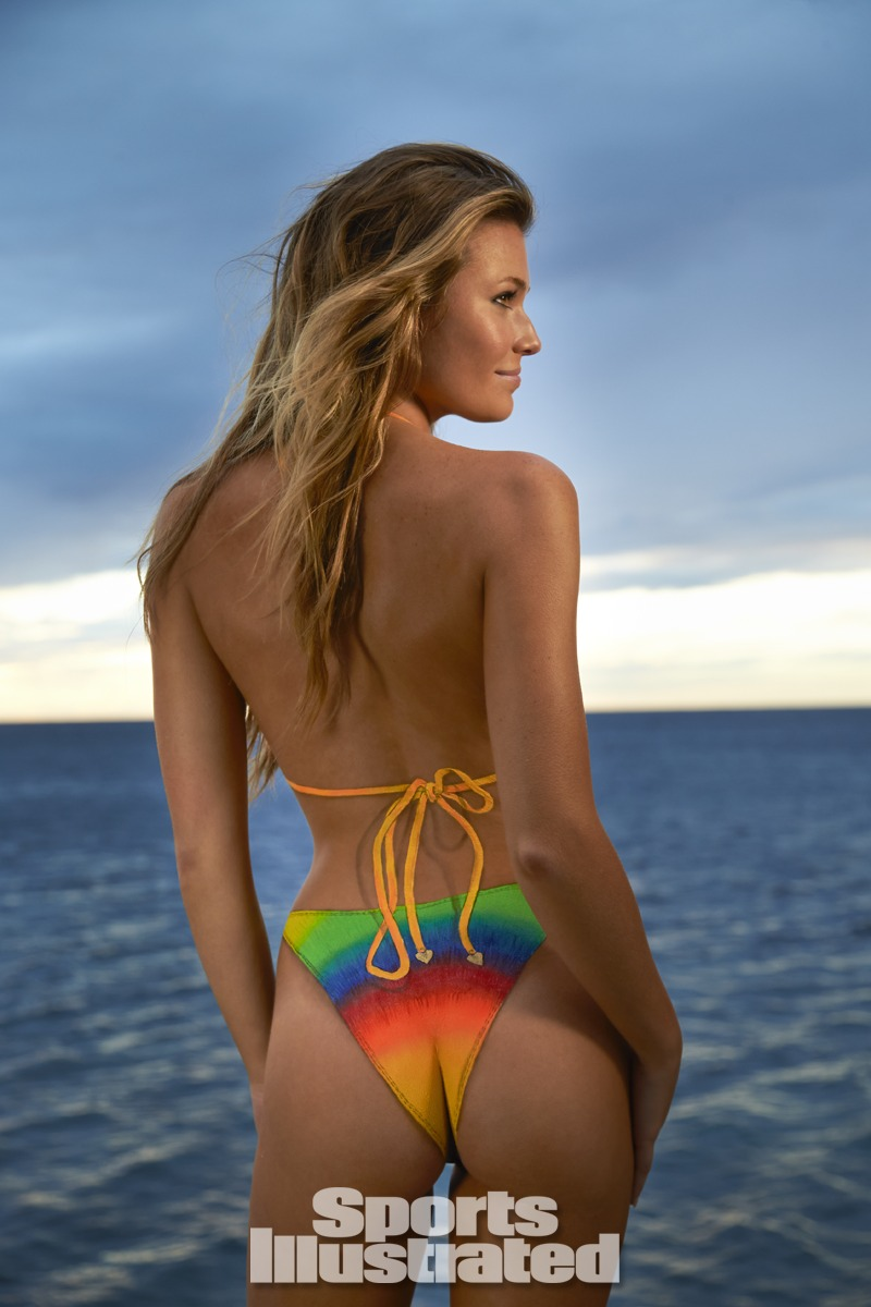 Samantha Hoopes was photographed by Walter Iooss Jr. in St. Lucia. Swimsuit inspired by Wildfox Swim from the 1989 Ipanema Wear suit.