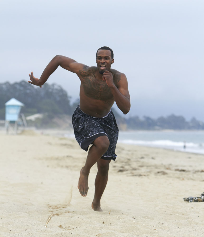 Former UCLA guard/forward Shabazz Muhammad in action during training session at East Beach in Santa Barbara, California in 2013.
