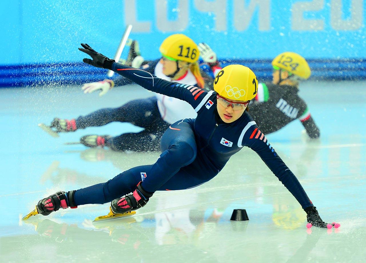 Seung-Hi Park of Korea in the Short Track Speed Skating 500 meter Finals.