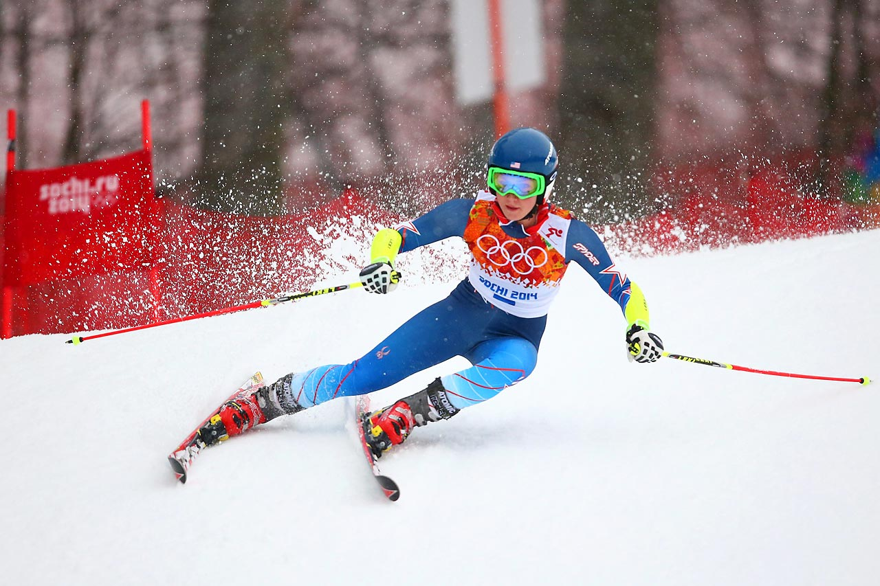 American skier Mikaela Shiffrin takes her first run in the alpine skiing women's giant slalom competition.