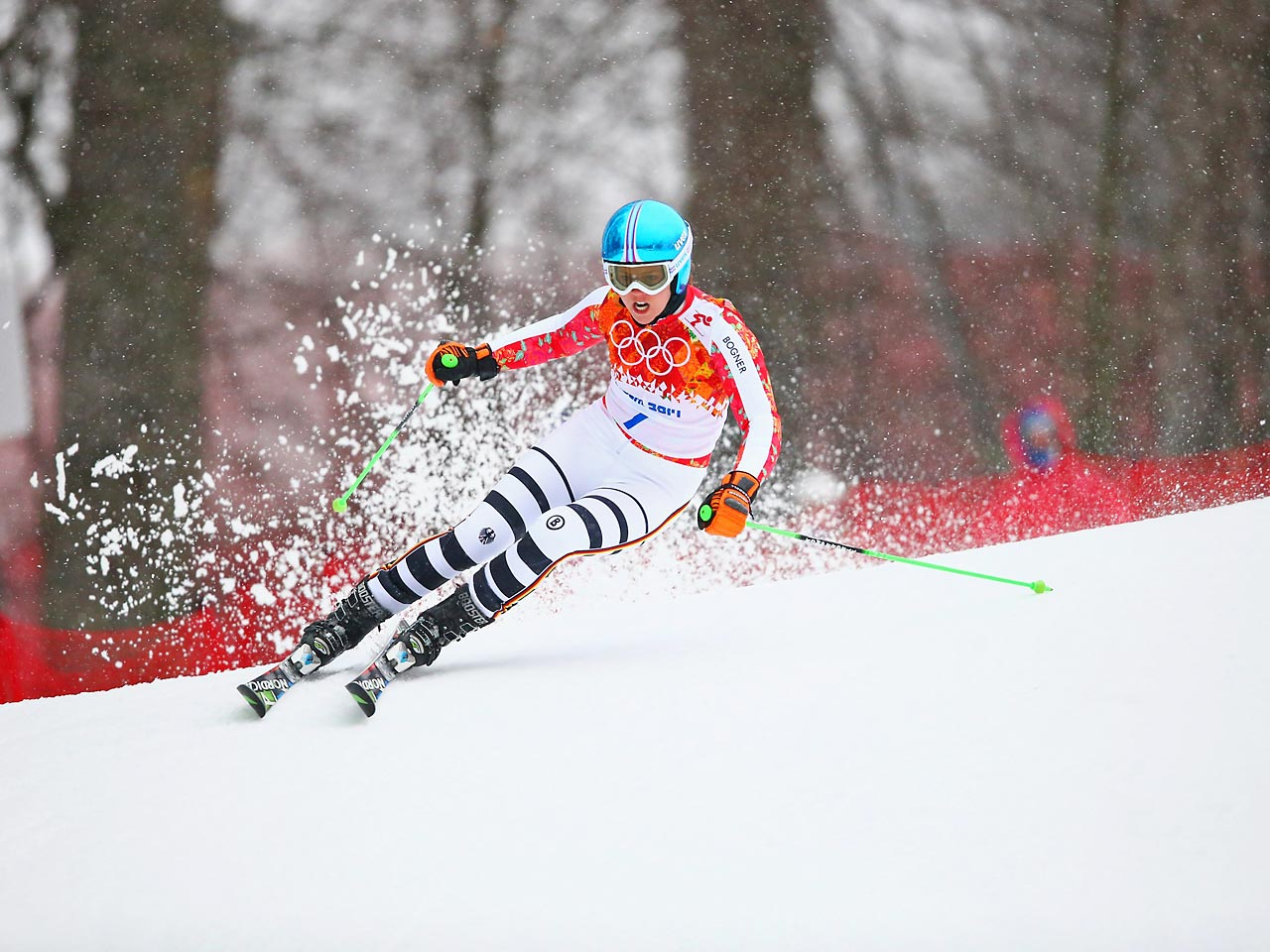 Vikotria Rebensburg of Germany races downhill during the women's giant slalom. She earned a bronze medal in the event.