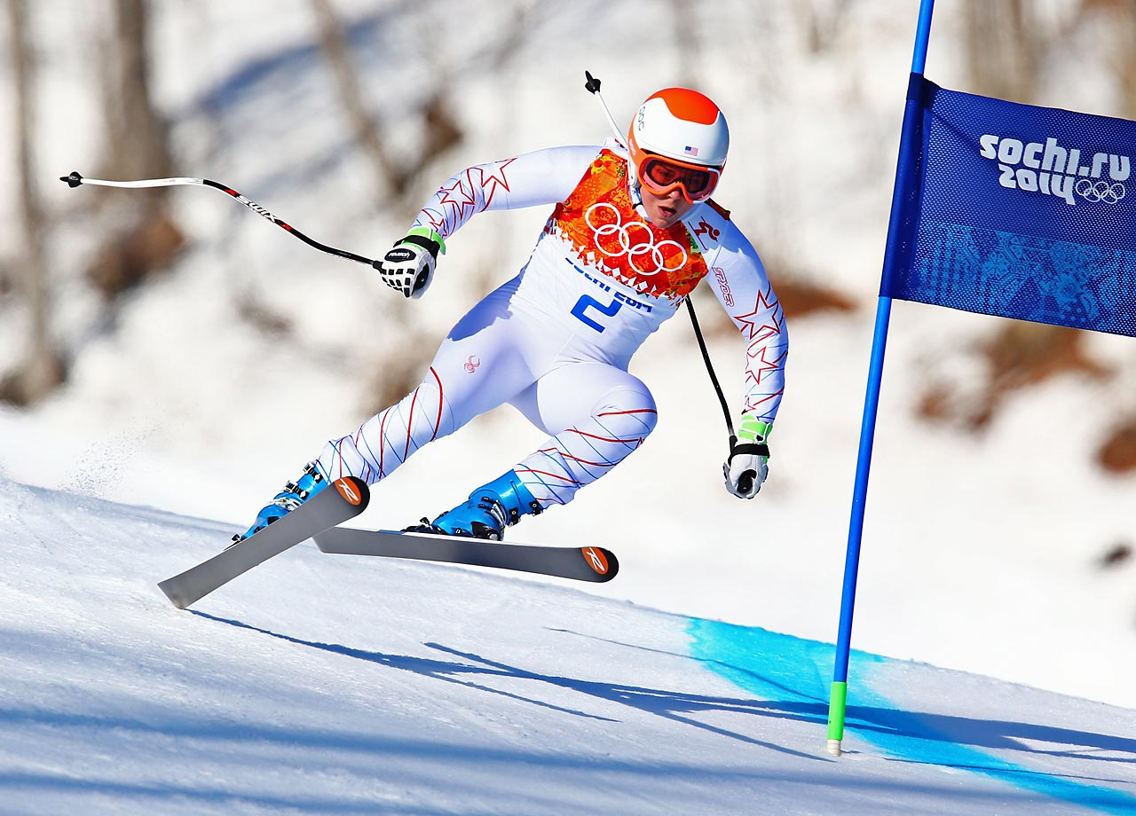Leanne Smith of the U.S. catches some air in the Super-G.
